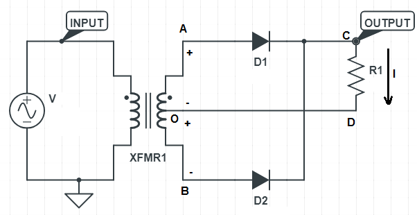 Circuit diagram of Center tapped full wave rectifier