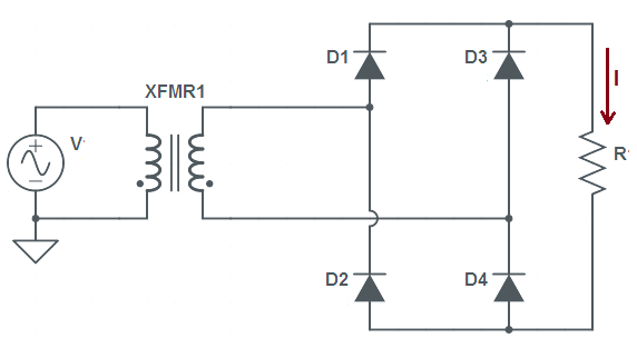 Diagram of full wave bridge rectifier