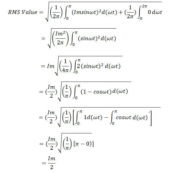 derivation of rms value of half wave rectifier
