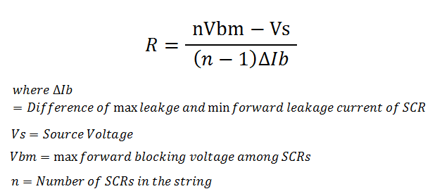 Value of equalizing resistance in series connected SCR
