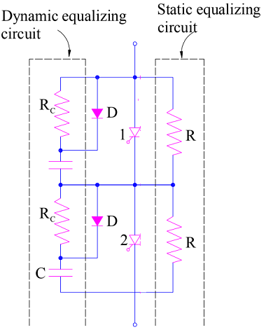 Voltage equalization or dynamic equalization circuit during turn on and turn off process