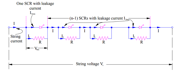 Voltage equalization or static equalization circuit in series connected SCR