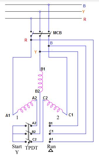 Star delta starter - schematic diagram