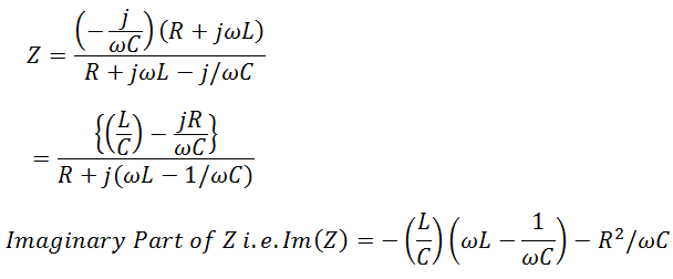 Resonant Frequency Formula derivation for parallel resonance circuit