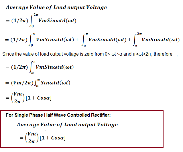 Average value of voltage for Single Phase Half Wave Controlled Rectifier